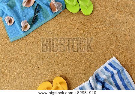 Beach Background With Flip Flops