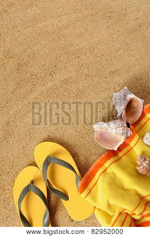 Beach Background With Yellow Towel