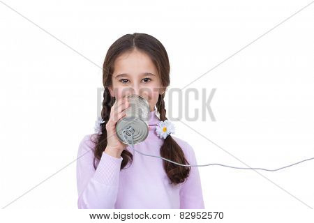 communication concept child with tin can and string telephone