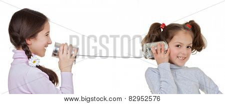 communication concepts children playing with tin can and string telephone