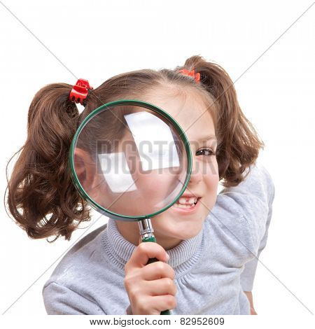 child with magnifying spy glass