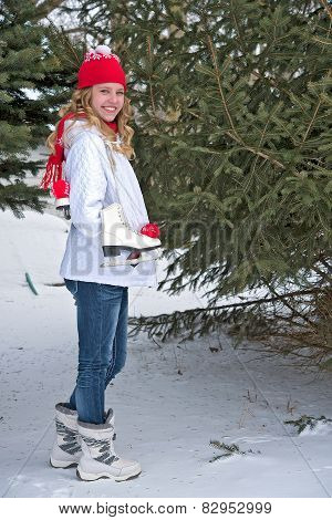 teen girl with ice skates
