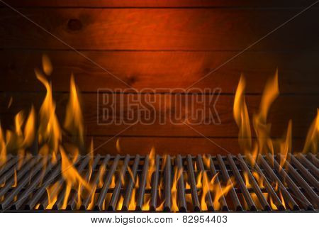 bbq grill flame, hot burning grill, outdoors