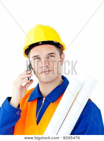 Ambitious Male Architect Talking On Phone Holding Blueprints