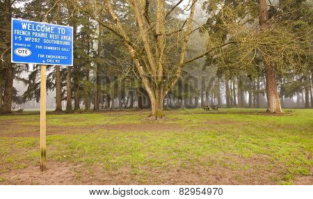 Trees And Park On Highway Stop Areas.