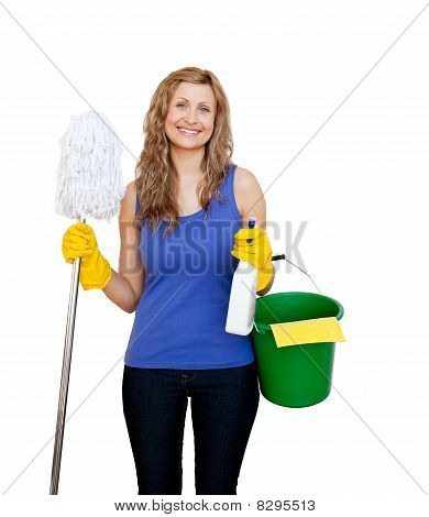 Charming Young Woman Holding A Mop