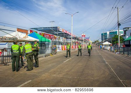 Police supervise the safety in Colombia's most important folklore celebration, Carnival of Barranqui
