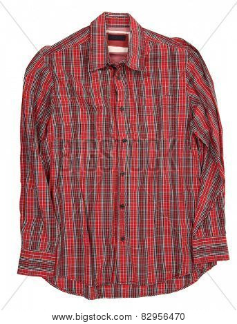 Man's red cotton plaid shirt
