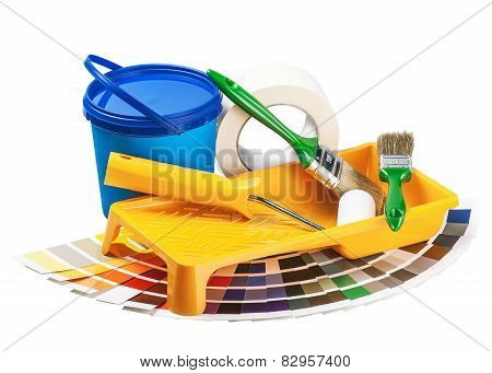 Plastic Can With Paint, Roller, Brushes Isolated On White