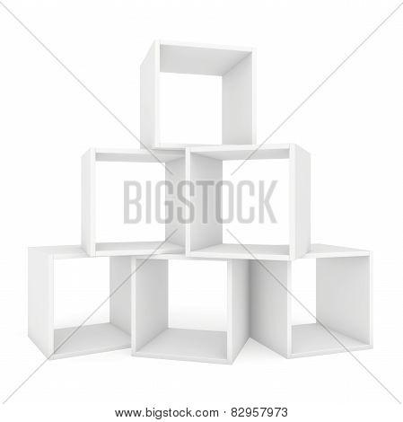 white shelves on each other