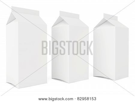 Blank milk or juice carton cans. 3d render on white background