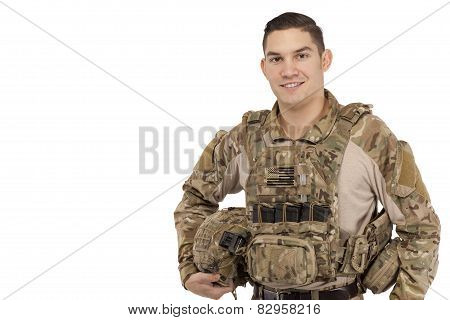 Smiling Soldier Against White Background in tactical gear