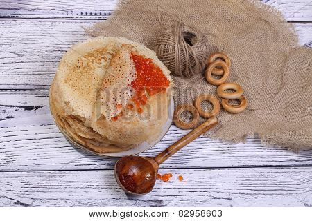 Pancakes With Red Caviar And Drying