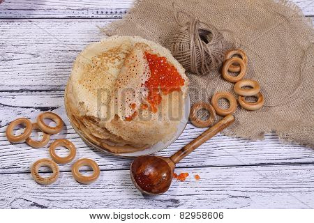 Red Caviar Wrapped In A Thin Appetizing Fritter And Crackling Drying