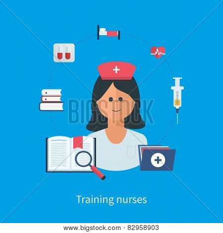 Flat design modern vector illustration concept for health care, medical help and training nurses