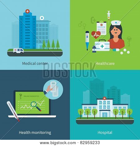 Flat design modern vector illustration concept for medical care
