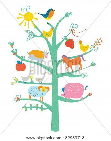 Cute card with tree and animals for kids