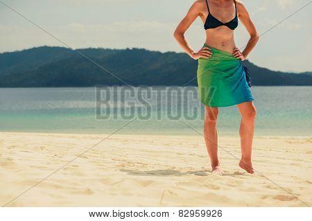 Woman Wearing Sarong On Tropical Beach