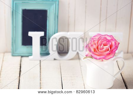 Postcard With Elegant  Flower And Word Love