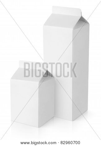 White Blank Milk Carton Packages