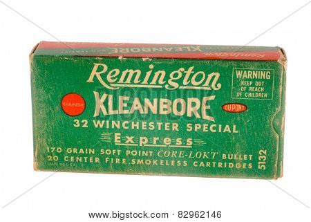 Hayward, CA - February 10, 2015: old Remington Cleanbore 32 Winchester Special caliber centerfire rifle ammunition