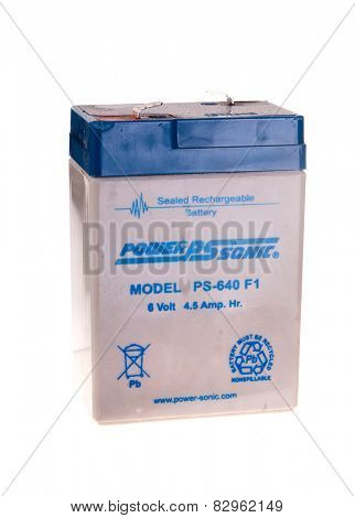 Hayward, CA - February 10, 2015: PowerSonic 6 volt, 4.5 Amp sealed rechargeable lead acid battery Model PS-640 F1