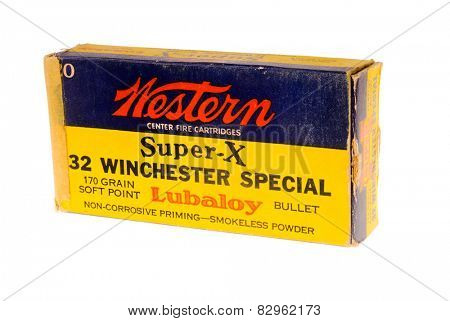 Hayward, CA - February 10, 2015: old box of Western Super-X, 32 Winchester Special caliber ammunition with Lubaloy isolated on white