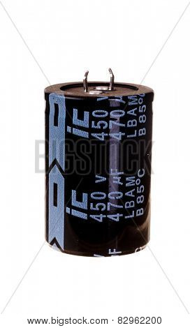 Hayward, CA - February 10, 2015: ic 470 microfarad 450 volt photo Flash electrolytic capacitor, isolated on white
