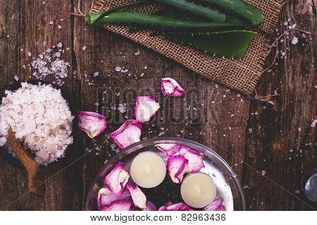 Medicine, spa. Aloe vera on the table