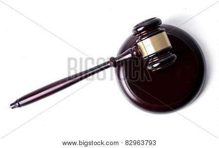 Judge hammer on a white background