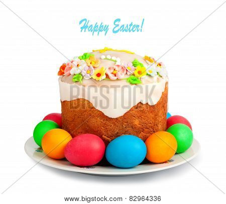 Painted Easter Eggs And Delicious Cupcake On White Isolated Background