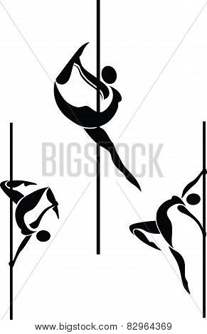 Stylized pole dancers