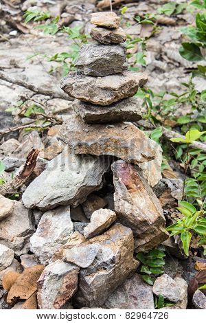 Stones Stacked In Forest, Asia