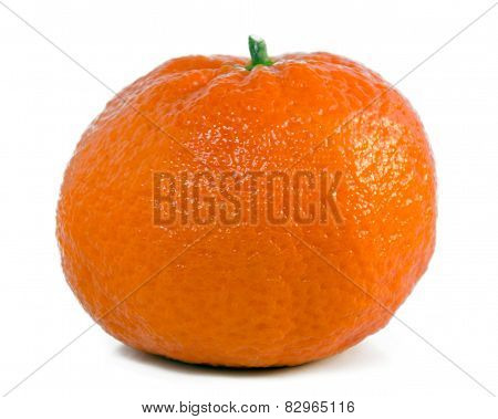Single fresh mandarin, tangerine fruit isolated on white background