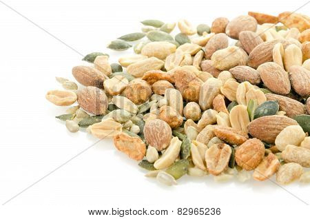 Student Mix - salted peanuts, almonds, piquant peanut, sunflower and pumpkin on a white background