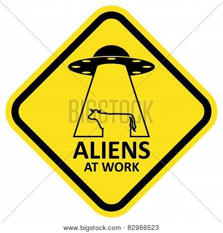 Vector sign aliens at work.