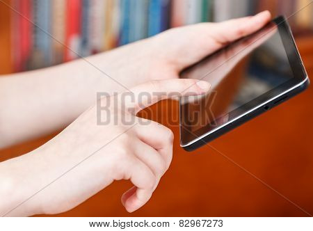 Finger Clicking Touchpad Screen In Library