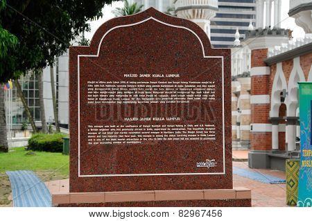 Information stone at Kuala Lumpur Jamek Mosque in Malaysia