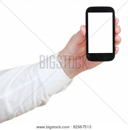 Businessman Holding Touchscreen Phone