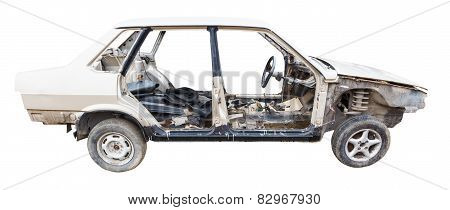 Body Of Disassembled Car Isolated On White