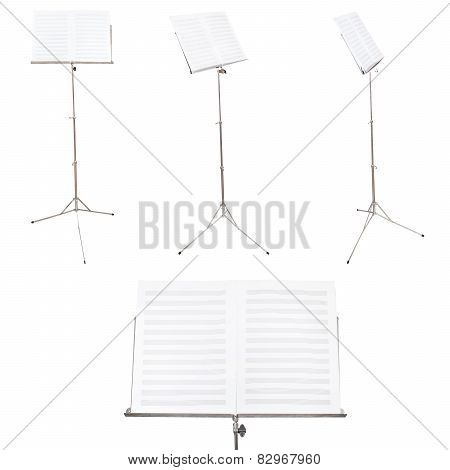 Set Of Music Stands With Blank Music Book Isolated