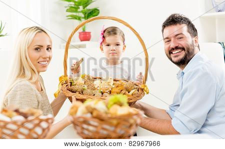 Happy Family With Baked Products