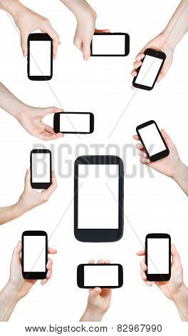 Set Of Hands Holding Smart Phones