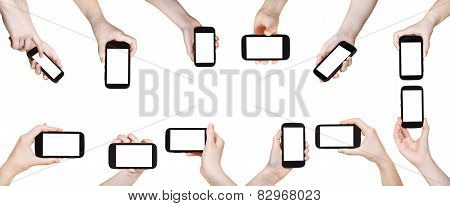 Set Of Hands With Mobile Phones Isolated