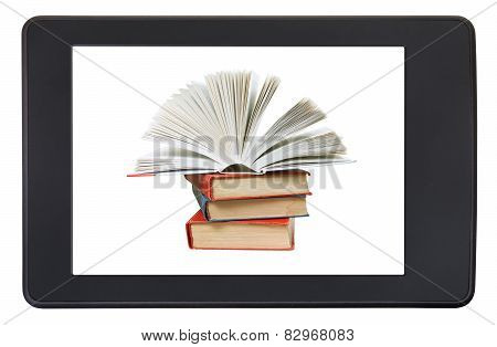 Pile Books On Screen Of E-book Reader Isolated