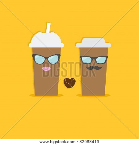 Two Disposable Coffee Paper Cups With Sunglasses Mustache Lips And Bean Heart. Flat Design