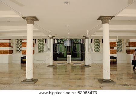 Interior of Kuala Lumpur Jamek Mosque in Malaysia