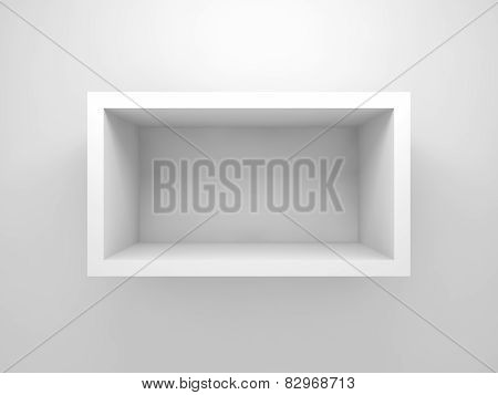 Abstract 3D Design Element, Empty Rectangle White Shelf