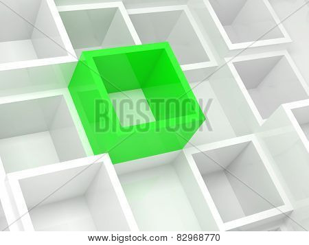 Abstract 3D Design Background, White And Green Cells