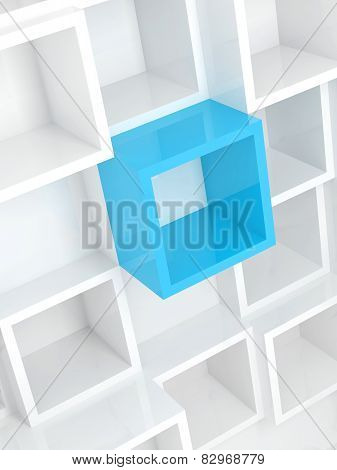 3D Design Background, White Square Cells And One Blue